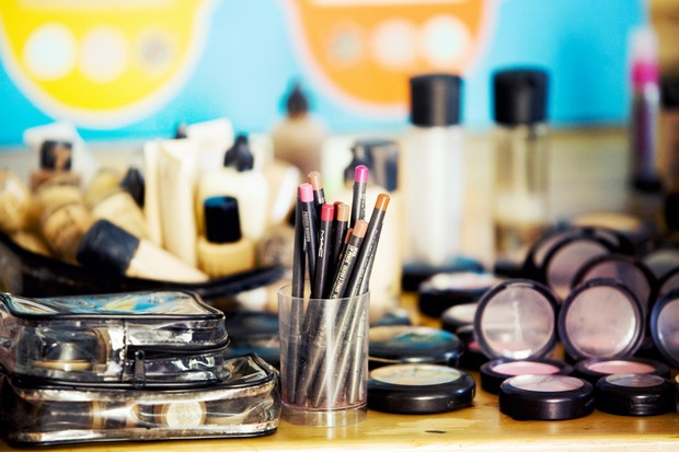 Cosmetics laid out on a table