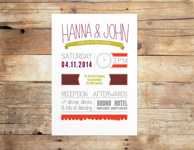 colourful wedding invite