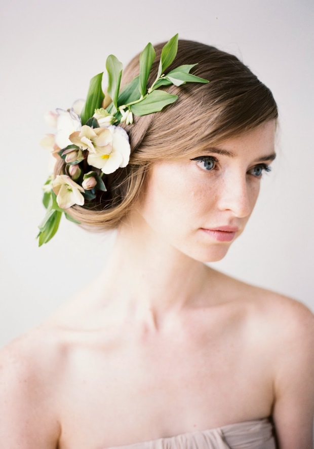 side swept wedding hairstyle with autumn flowers hair