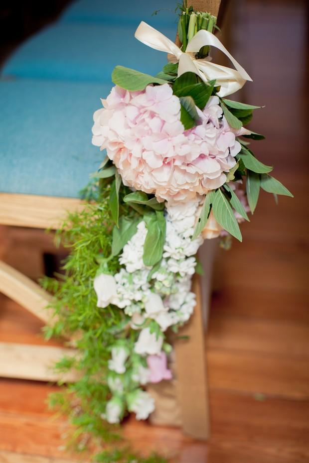 pink green fresh flower pew end