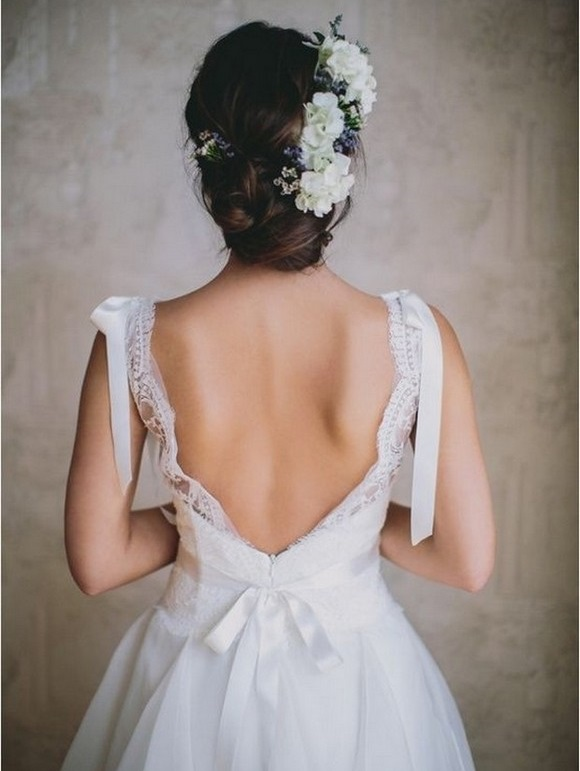 flowers updo wedding hairstyle