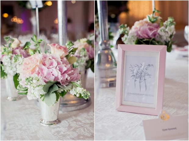 pale pink green wedding table decor centrepiece