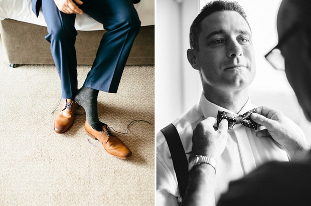 groom getting ready brown shoes bow tie