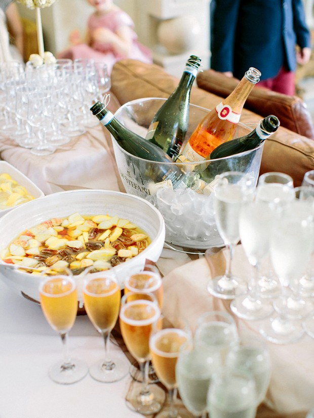 champagne cocktails wedding drinks table