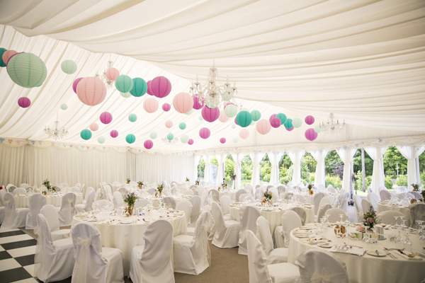 marquee colourful paper lanterns