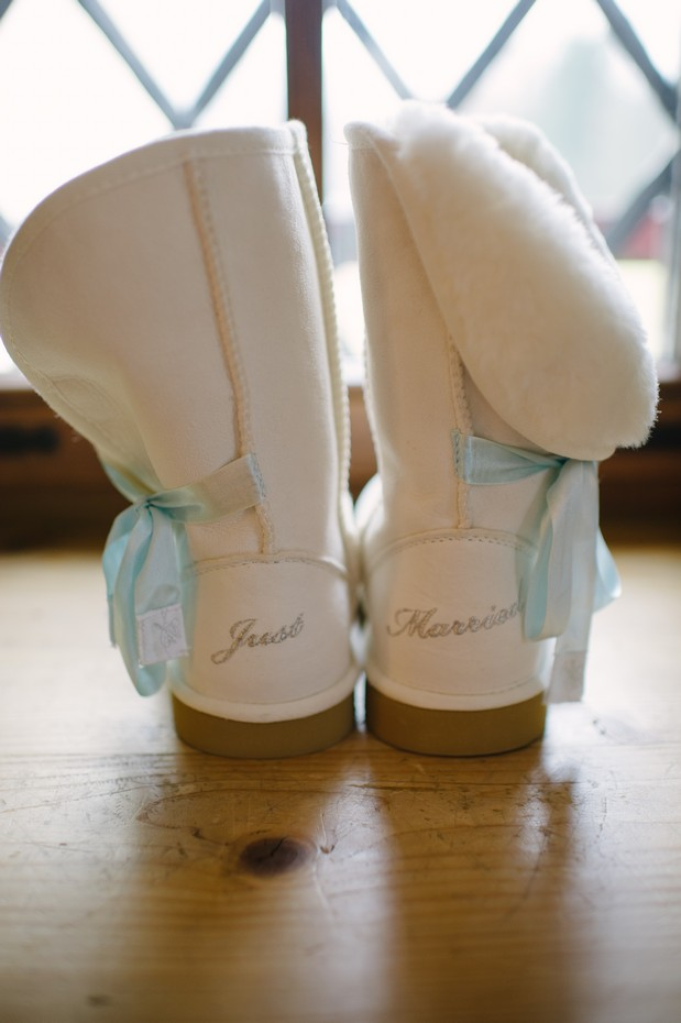 just married winter snow boots white