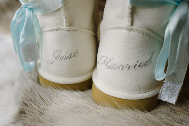 winter wedding details personalised snow boots
