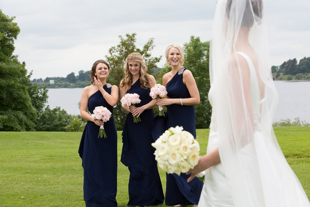 bridesmaids in JS Selection navy dresses