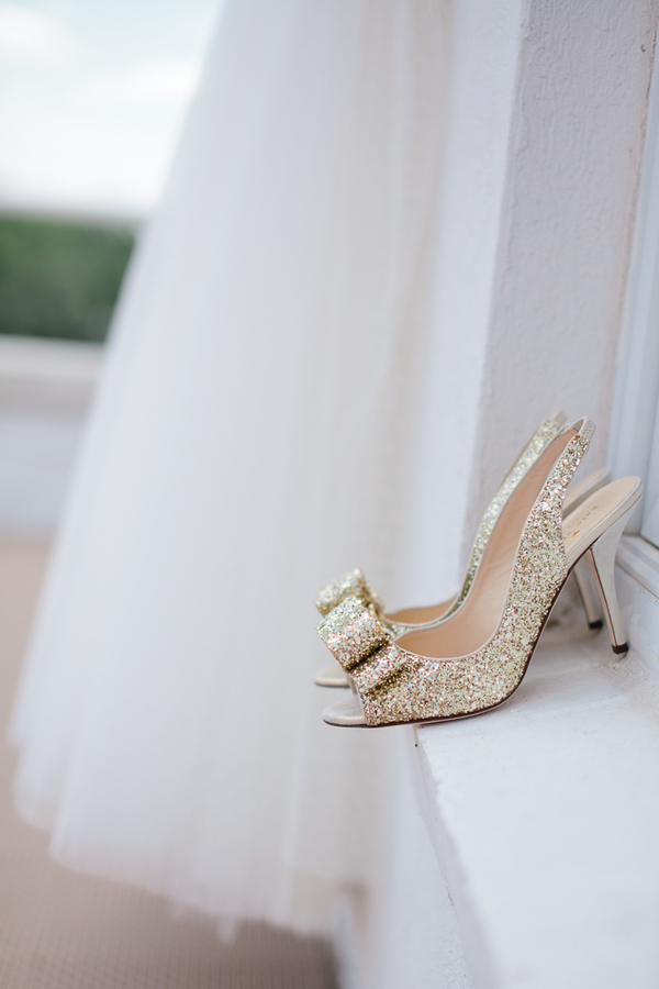 kate spade grano wedding shoes bow gold glitter