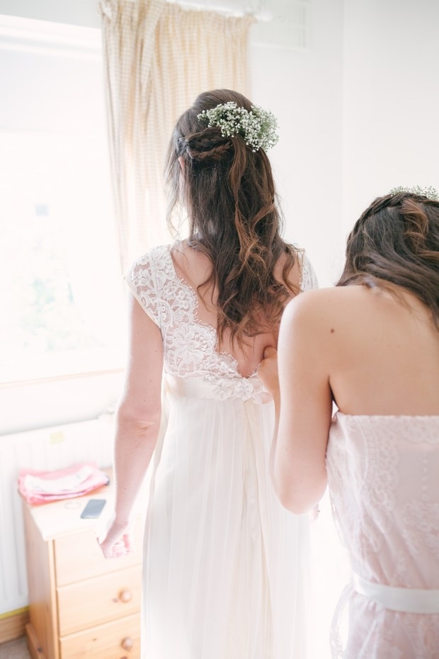 Bride with Baby's Breath in Hair Style