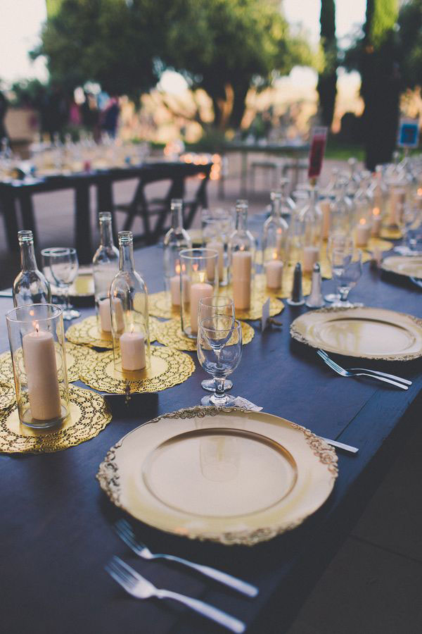 diy-spray-painted-gold-doilies-wedding-table-runner