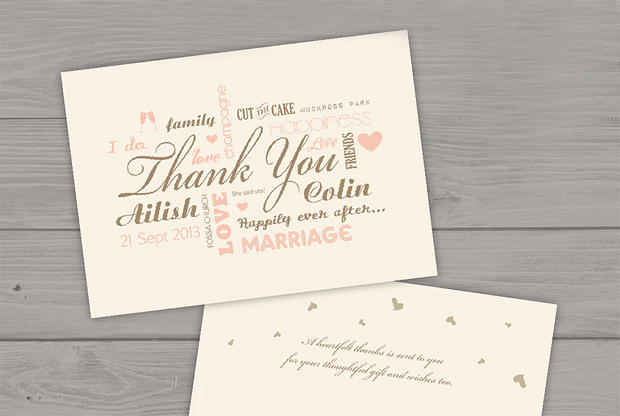 18 Beautiful Wedding Thank You Cards from Irish Stationery Designers : wedding gift thank you notes - princetonregatta.org