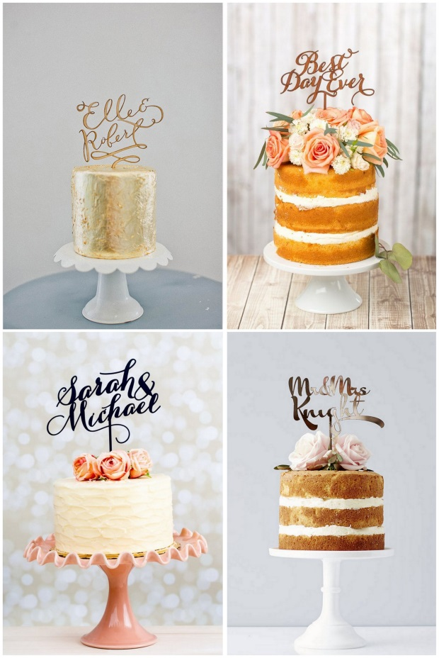 wedding-cake-trends-2016-calligraphy-toppers-words