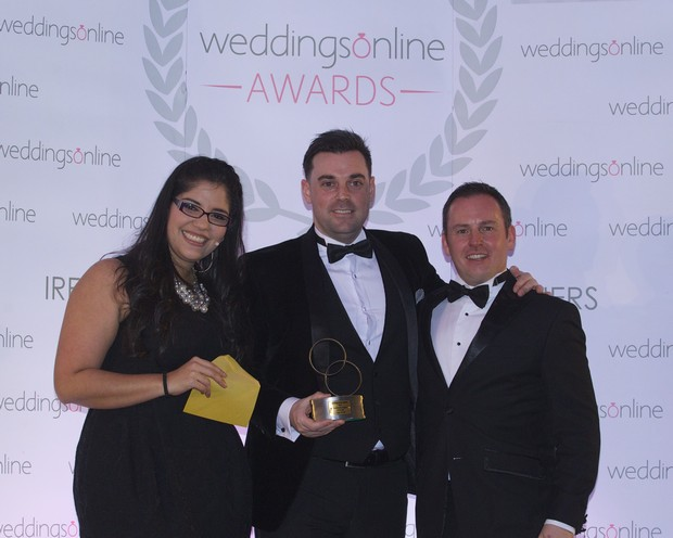 DUBLIN Groomswear Supplier of the Year- - Collar & Cuff, pictured at the 2016 National Weddingsonline awards held on Monday 15th February 2016 at the Grand Hotel, Malahide, l-r Jessica Mavare WOL, Declan Mahon and Jonathan Byrans WOL