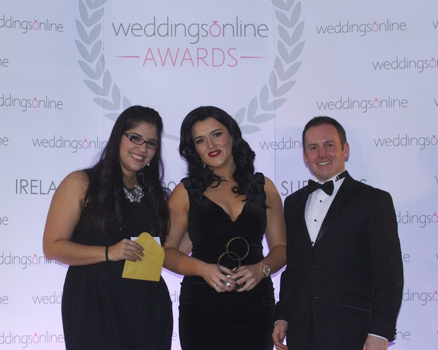 DONEGAL Stationery Designer of the Year - Kerry Harvey Designs, pictured at the 2016 National Weddingsonline awards held on Monday 15th February 2016 at the Grand Hotel, Malahide l-r, Jessica Mavare WOL, Adelle Mc Callion and Jonathan Byrans WOL