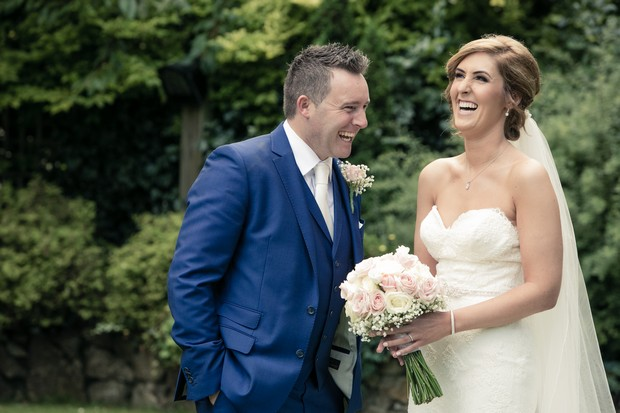 bride-and-groom-laughing-together