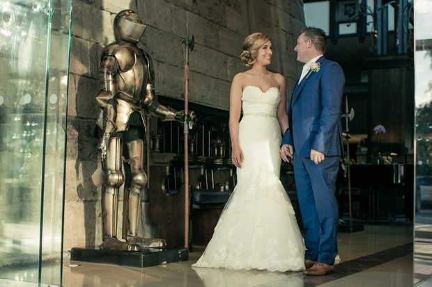 bride-and-groom-with-armour-clontarf-castle