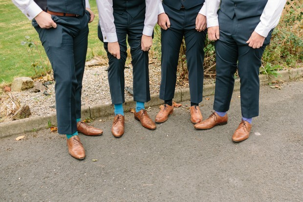 3-groomsmen-three-piece-grey-wedding-suits-brown-leather-shoes