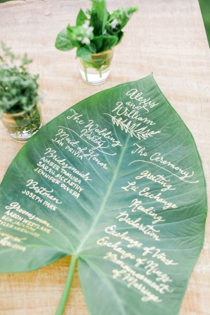 wedding-program-giant-leaf-tropical-theme