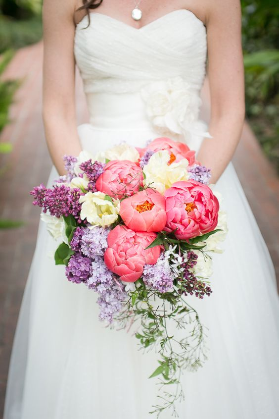 vibrant-pink-peony-lilac-summer-wedding-bouquet