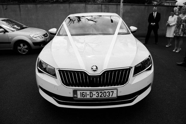 16-White-wedding-car-Ballymagarvey-Village-Wedding-weddingsonline