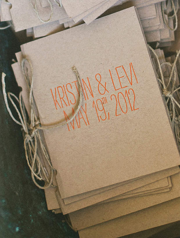 kraft-paper-ceremony-booklet-with-oversized-lettering