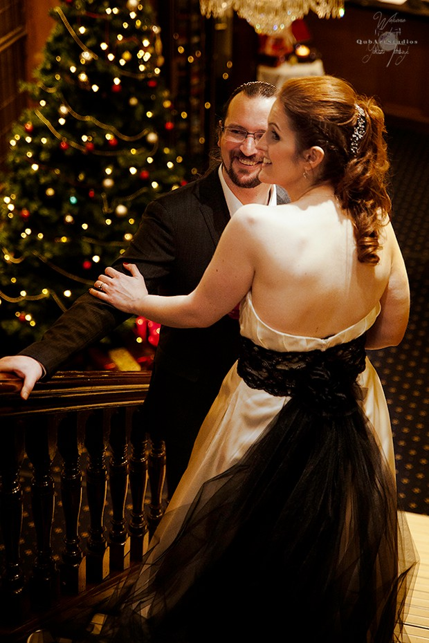 bride-and-groom-on-stairs-at-lucan-spa-hotel