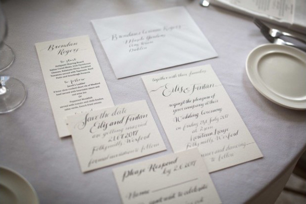 Silver and Grey Calligraphy on Cream Paper for your big day. Soul Scribe Calligraphy