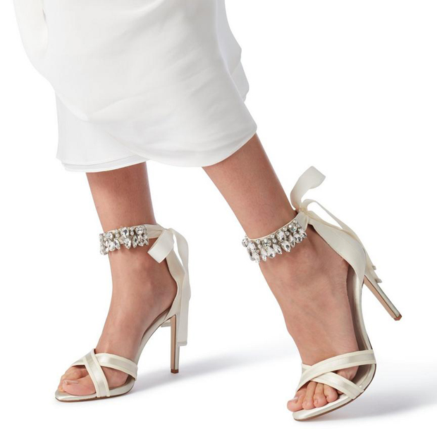 e24d5ac74 7 of the Biggest Wedding Dress Trends for 2019. Diamante Ankle Strap Sandal