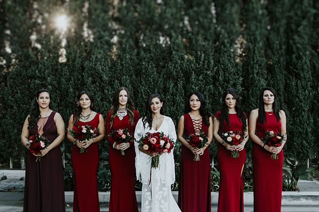 Rich Red Bridesmaids