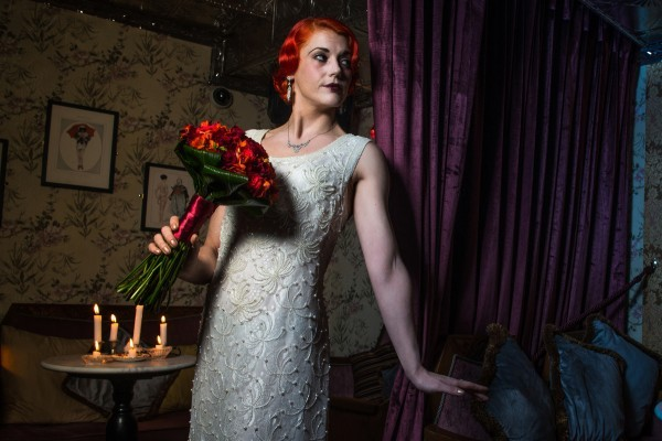 Vintage wedding dress, vintage jewellery 20s makeup, 20s hair, red hair, red bouquet