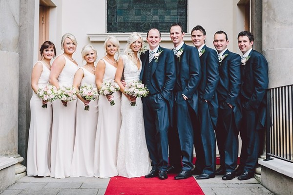 Entire bridal party line up