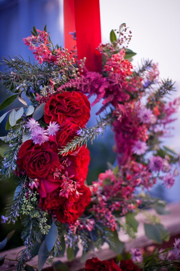red and purple floral wreath