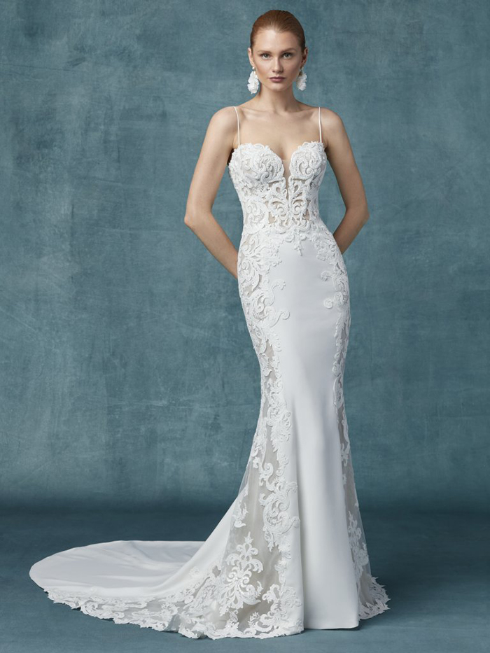 Plunge neckline wedding dress