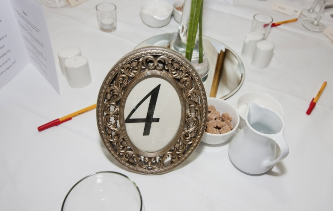 silver table numbers