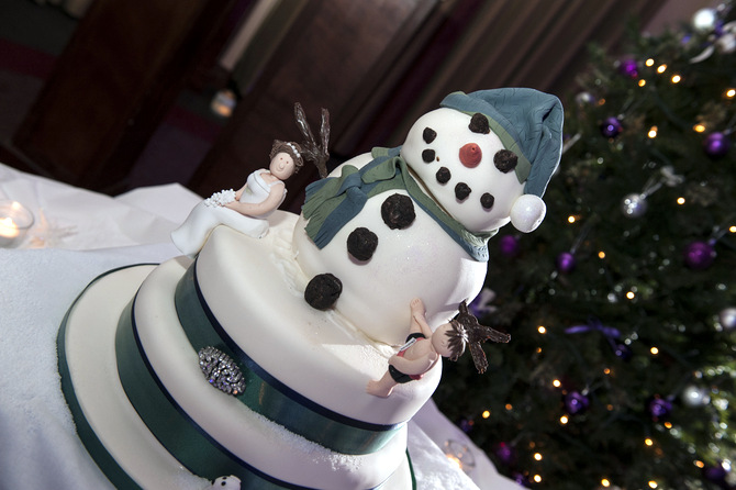 snowman wedding cake christmas