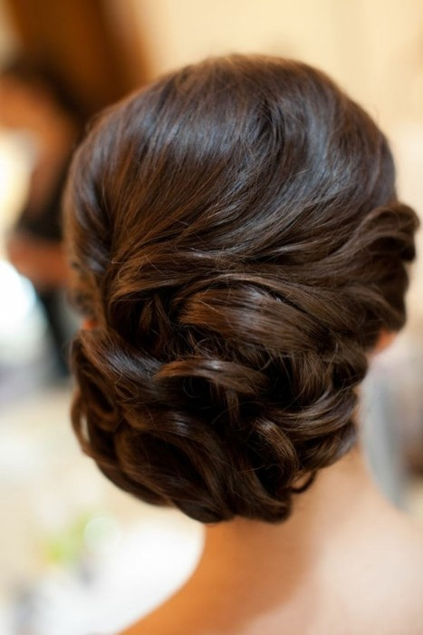 side swept bun wedding hair bride
