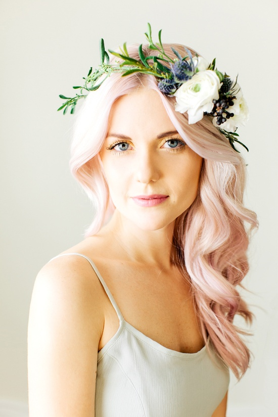 wedding hair pink pretty flowers down