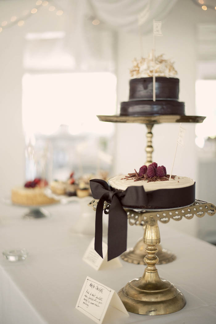 chocolate wedding cake metallic theme