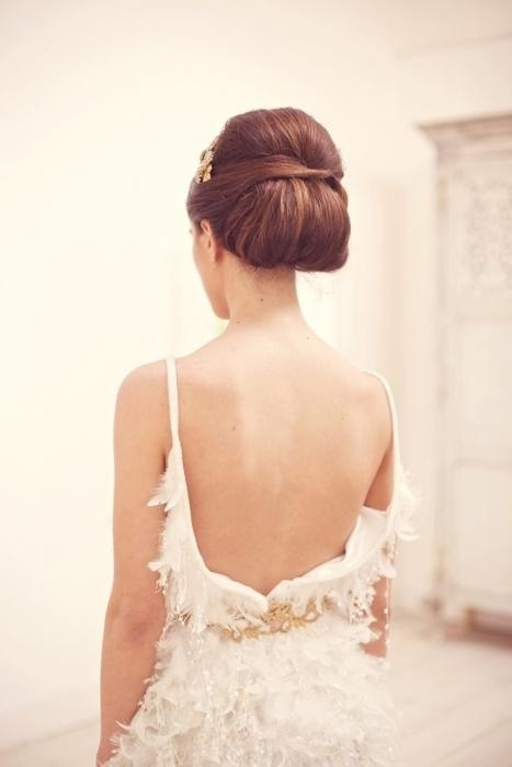 low chignon wedding hair