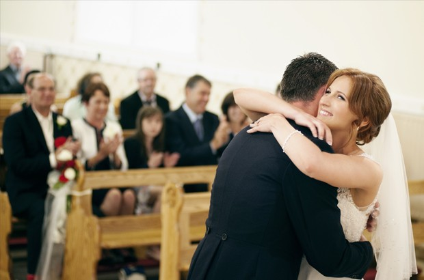 candid wedding photographer, just married in church, church ceremony,