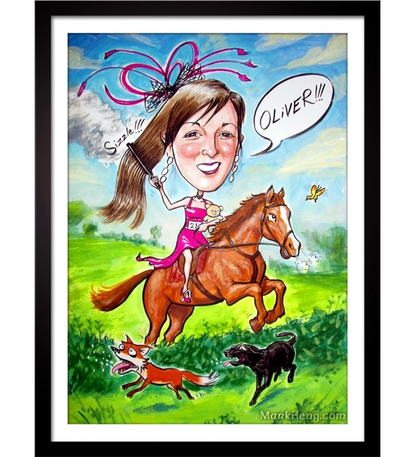 Lovely straight hair!  Caricatures by Mark Heng-  Drawing Smiles since 1990!