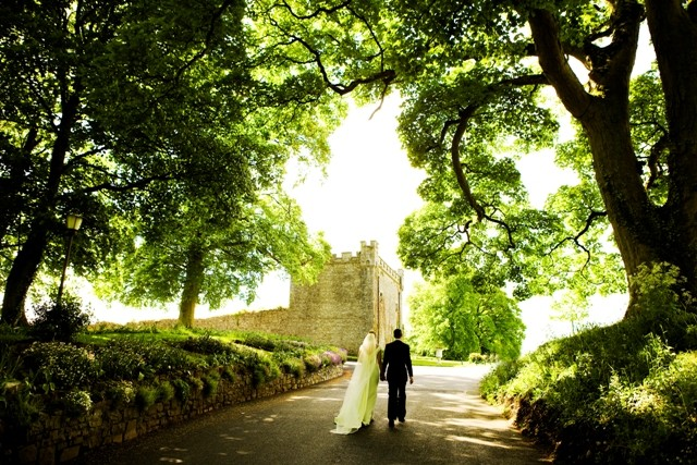 Coming up the Castle's driveway in spring