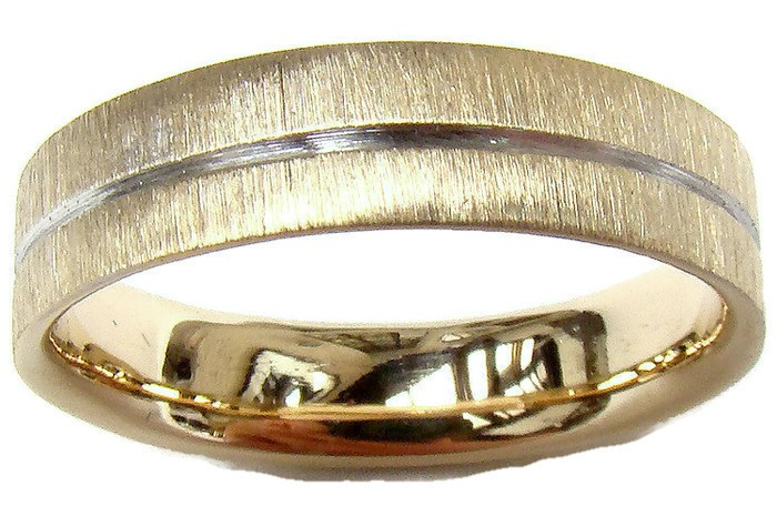 5mm Gold Wedding Ring With Polished Groove and Scratch Finish. Court Inside