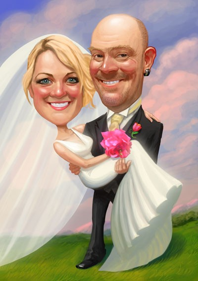 Art for invites and signing boards! Caricatures by Mark Heng-  Drawing Smiles since 1990!