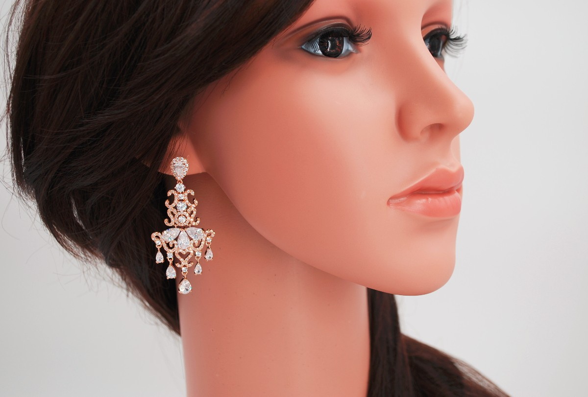 Bridal earrings, rose gold bridal earrings, Rose Gold Earrings, chandelier earrings, rose gold wedding, cz rose gold earrings, ALEXANDRA