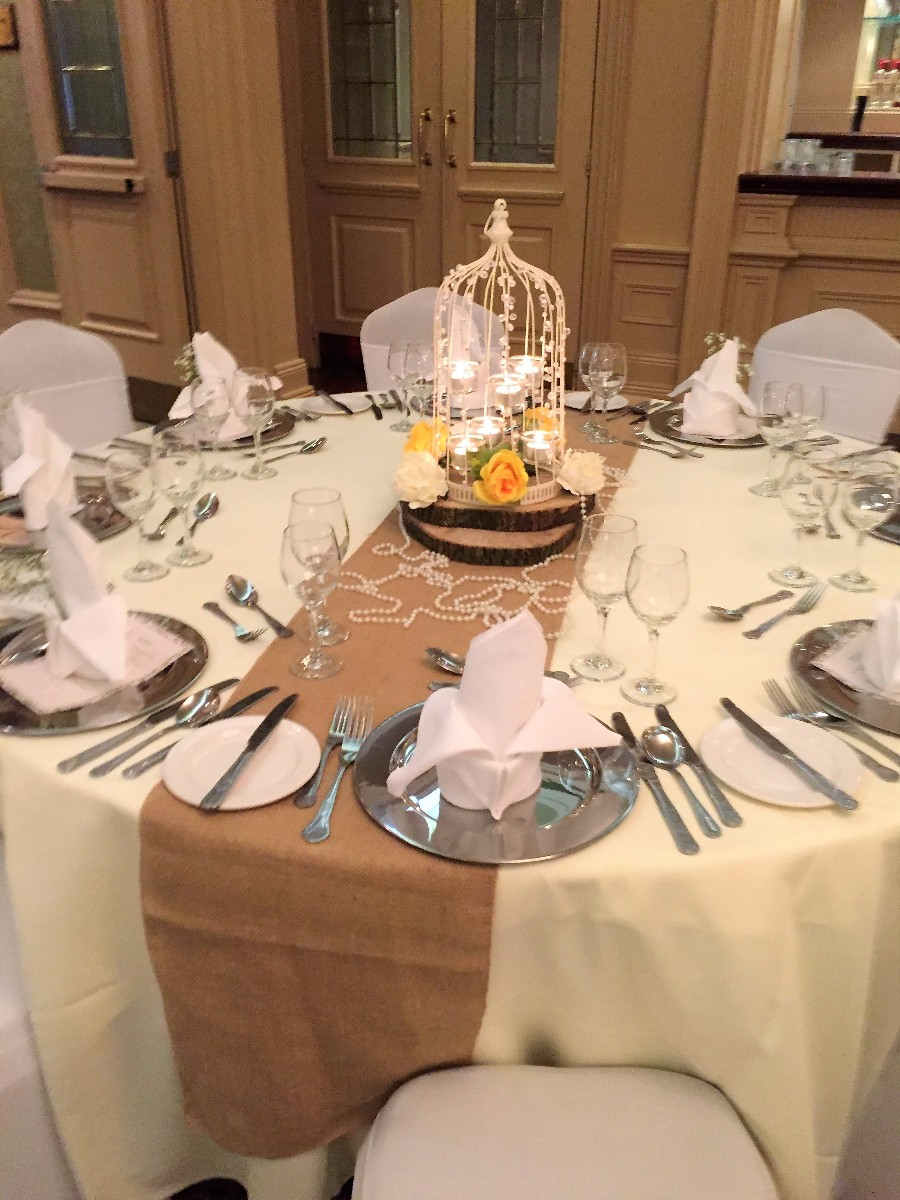 Bird Cage Centerpieces, Lanterns,Candles,Reception Decoration,Table Linen,Chivari Chair Hire,Chair Covers,Sashes,Table Runners