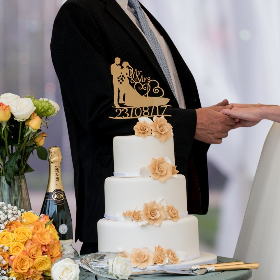 Bride and Groom with date custom made cake topper