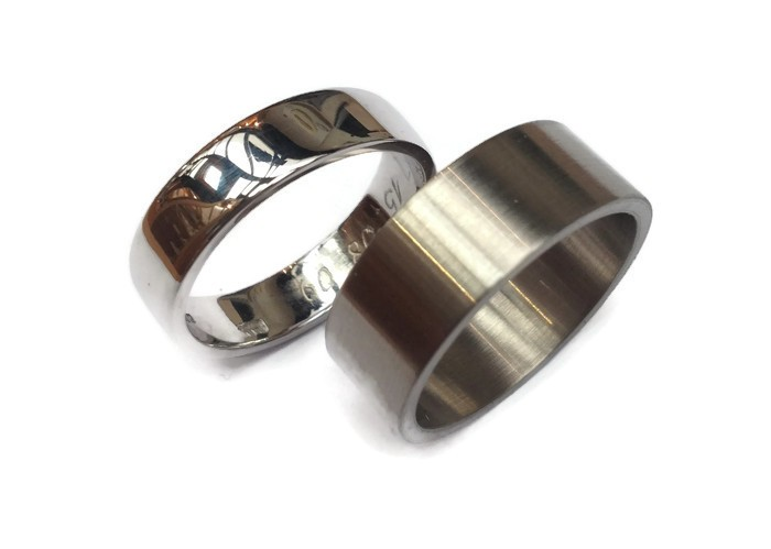 Brushed and Polished White Gold Rings