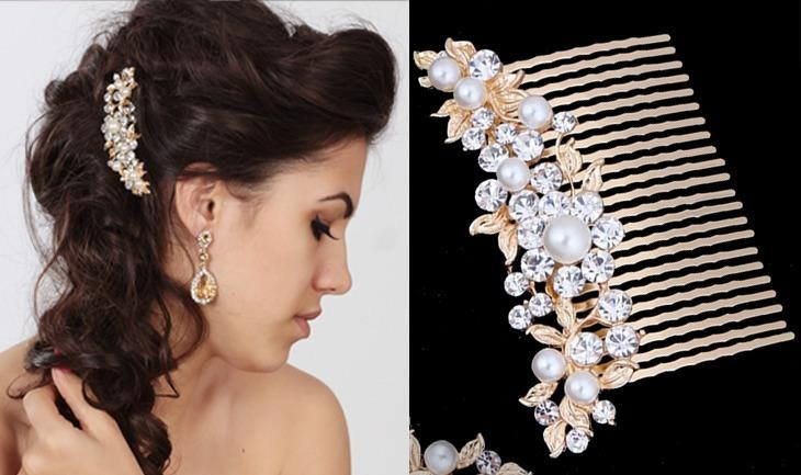 ELEN Exclusive Gold-plated Bridal Hair Comb with Pearl and Crystals